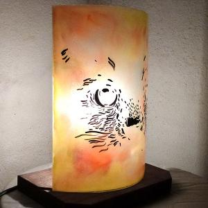 Lampe chat orange jaune1 1