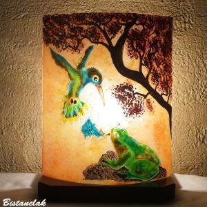 Lampe coloree sur mesure motif grenouille et colibri 1