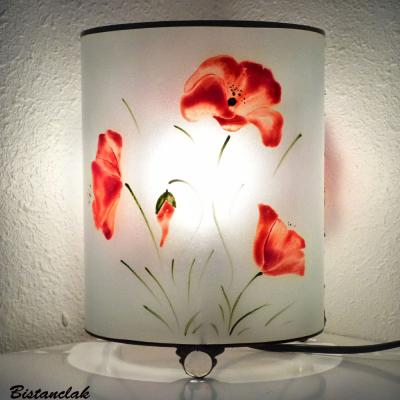 Lampe cylindrique blanche motif Coquelicots