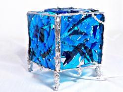 lampe verre photophore bleu turquoise