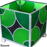 Lampe cube vitrail verte