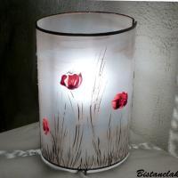 Lampe décorative simple motif coquelicots rouge