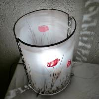 Lampe cylindre paysage coquelicot 2