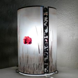 Lampe cylindre paysage coquelicot 3