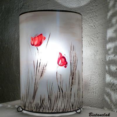 Lampe d'ambiance motif Paysage de Coquelicots rouge