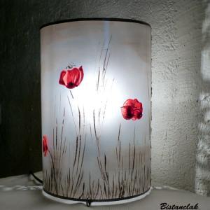 Lampe décorative simple motif Coquelicot dans la brume