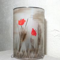Lampe cylindre paysage coquelicot 7