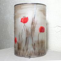 Lampe décorative cylindrique motif coquelicots