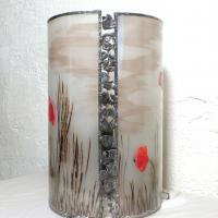 Lampe cylindre paysage coquelicot 9