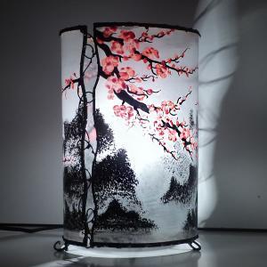 Lampe cylindrique cerisier en fleur du japon 2