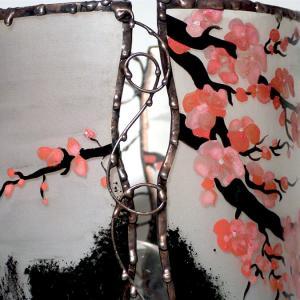 Lampe cylindrique cerisier en fleur du japon detail 1