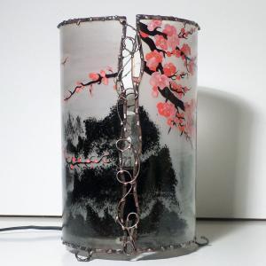 Lampe cylindrique cerisier en fleur du japon detail 2