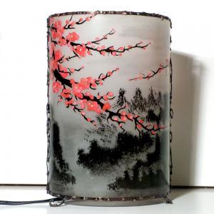Lampe cylindrique cerisier en fleur du japon eteinte