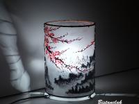 Lampe cylindrique cerisier en fleur du japon