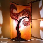 Lampe artisanale cylindrique jaune orange motif