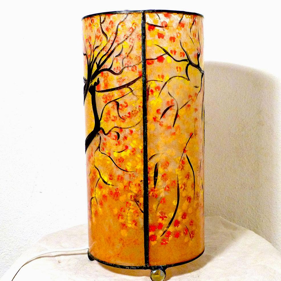 Lampe cylindrique sable orange arbre danseuse 1