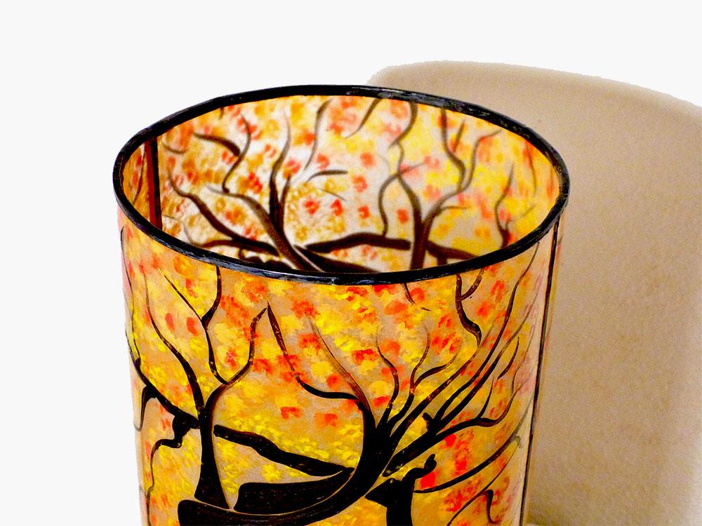 Lampe cylindrique sable orange arbre danseuse 6
