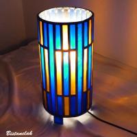 Lampe cylindrique vitrail bleu cobalt et ambre