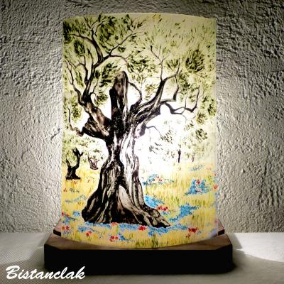 Lampe demi-cylindre motif olivier