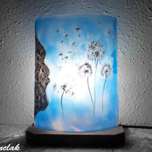 Lampe d ambiance bleu cyan motif l envol du pissenlit vendue en ligne sur votre site luminaire artisanal france