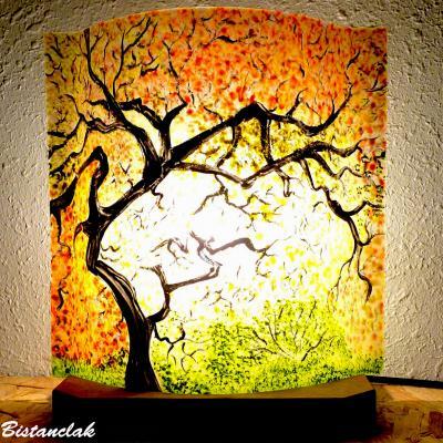 Lampe d'ambiance jaune, orange et vert motif Sous-bois aux couleurs d'automne