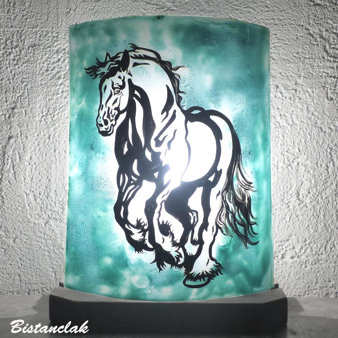 Luminaire artisanal vert turquoise motif cheval