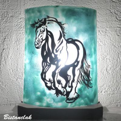 Lampe vert turquoise motif cheval