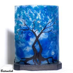Lampe deco bleu motif arbre