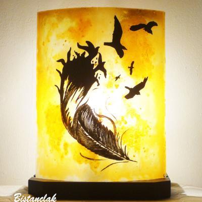Lampe decorative jaune orange motif plume et oiseaux vendue en ligne