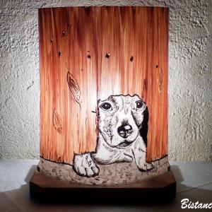 Lampe decorative motif chiot sous la palissade vendue en ligne sur notre site creation artisanale francaise par bistanclak