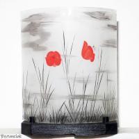 Lampe decorative motif coquelicot