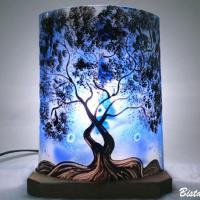 Lampe demi cylindre decorative bleu motif arbre