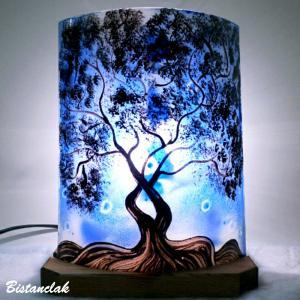 Lampe demi cylindre arbre bleu 4