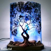 Lampe demi cylindre décorative motif arbre bleu
