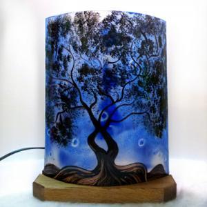 Lampe demi cylindre arbre bleu 5