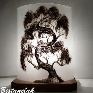 Lampe décorative monochrome motif arbre Bonsaï; création artisanale française