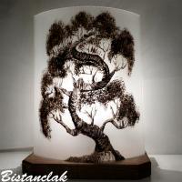 Lampe demi cylindre bonsai noir et blanc 1