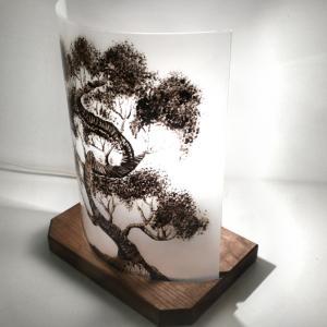 Lampe demi cylindre bonsai noir et blanc 2