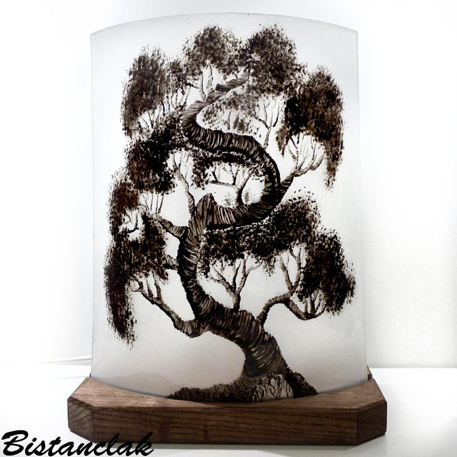 Lampe décorative noire et blanche motif arbre bonsaï