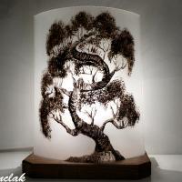 Lampe décorative motif bonsaï noir et blanc