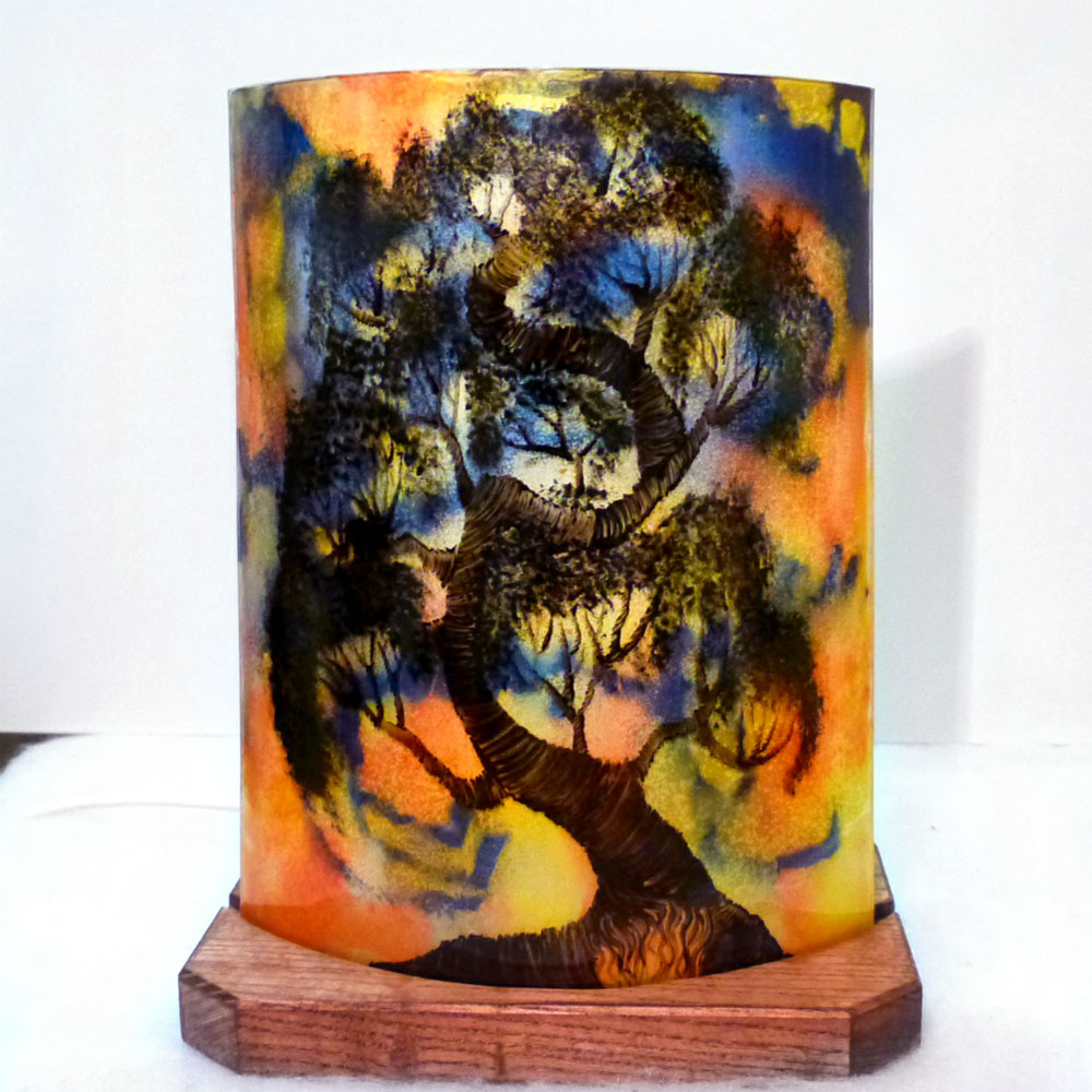 Lampe demi cylindre jaune orange violet bonsai 1 1