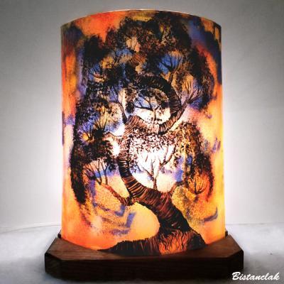 Lampe décorative à poser orange, jaune et violet Bonsaï
