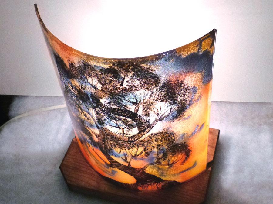 Lampe demi cylindre jaune orange violet bonsai 2