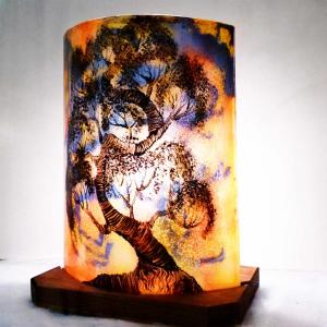 Lampe demi cylindre jaune orange violet bonsai 3 1