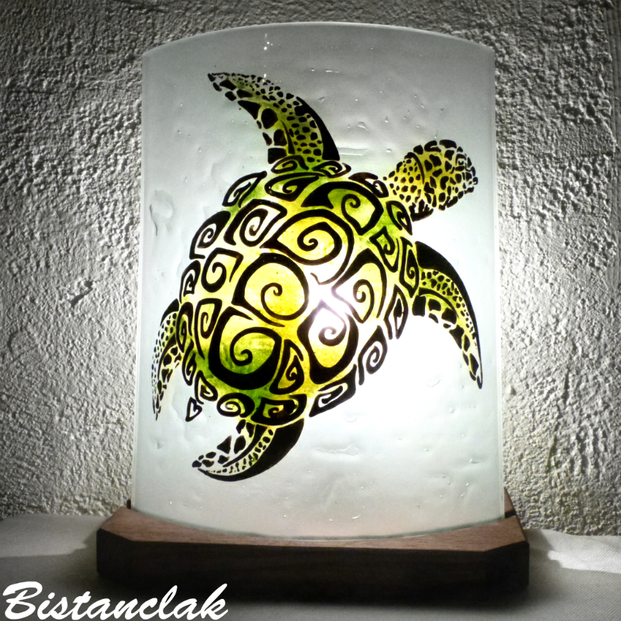 Lampe décorative motif tortue verte