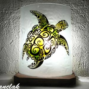 Lampe artisanale motif tortue verte