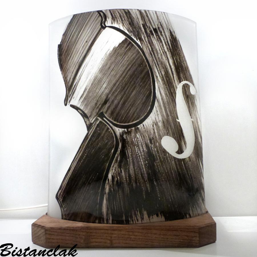 Lampe demi-cylindre décorative noir et blanc motif violon