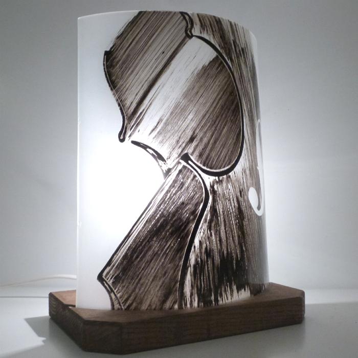 Lampe demi cylindre violon noir et blanc 2