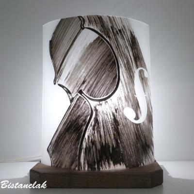 Lampe décorative noire et blanche en verre motif Violon