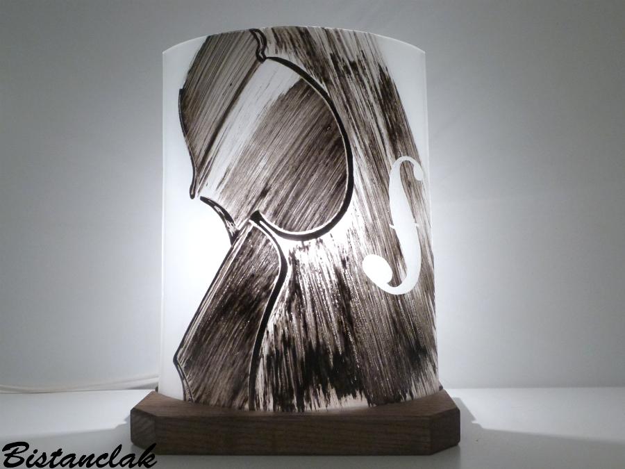 Lampe décorative demi-cylindre noir et blanc motif violon